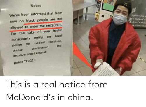 China, McDonald, and Real: This is a real notice from McDonald's in china.