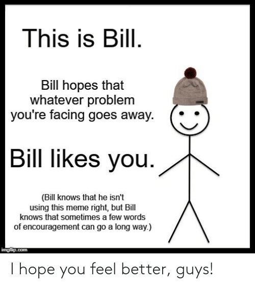 feel better: This is Bill.  Bill hopes that  whatever problem  you're facing goes away.  Bill likes you.  (Bill knows that he isn't  using this meme right, but Bill  knows that sometimes a few words  of encouragement can go a long way.)  imgflip.com I hope you feel better, guys!
