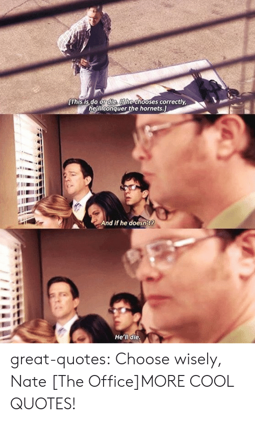The Office, Tumblr, and Blog: This is,do Ond hoses correctly,  heiliconquer the hornets.  And if he doesn't?  He'll die great-quotes:  Choose wisely, Nate [The Office]MORE COOL QUOTES!