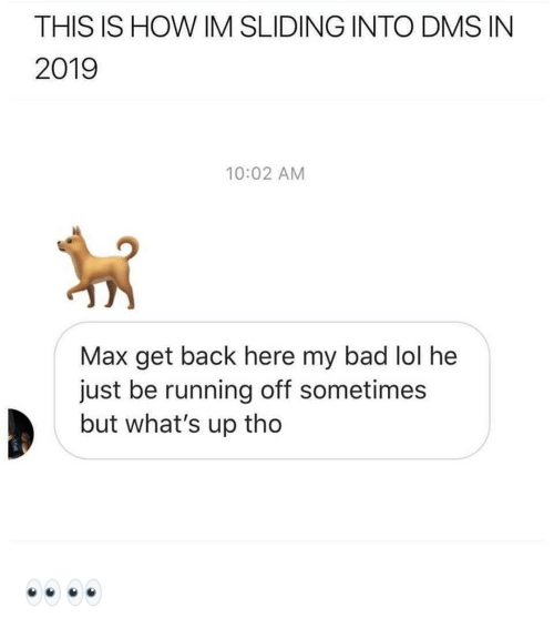 Bad, Lol, and Dank Memes: THIS IS HOW IM SLIDING INTO DMS IN  2019  10:02 AM  Max get back here my bad lol he  just be running off sometimes  but what's up tho 👀👀