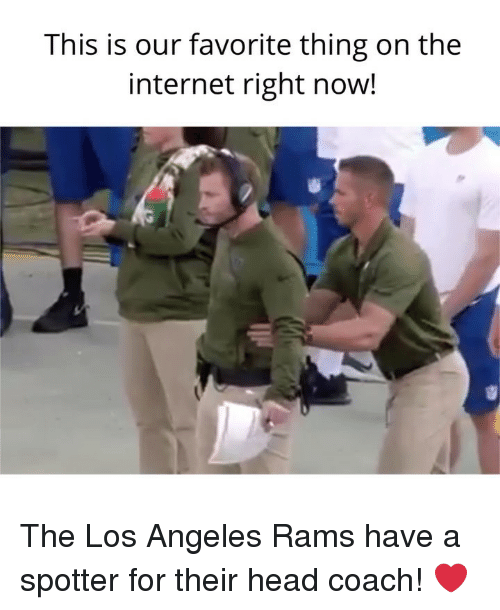 Head Coach: This is our favorite thing on the  internet right now! The Los Angeles Rams have a spotter for their head coach! ❤️