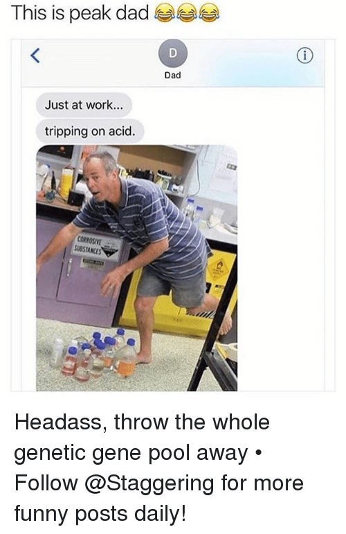Headass: This is peak dad  Dad  Just at work...  tripping on acid.  CORROSIVE  SUBSTANCES Headass, throw the whole genetic gene pool away • ➫➫➫ Follow @Staggering for more funny posts daily!