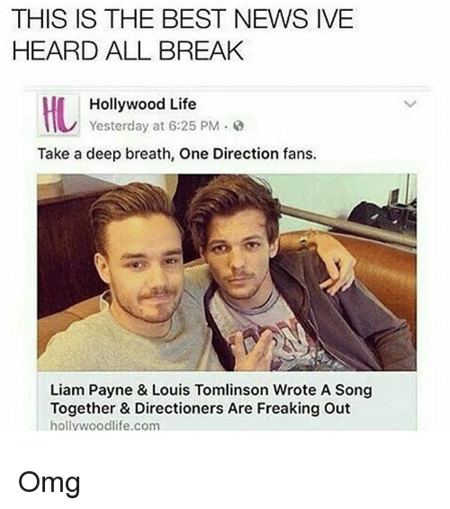 one direction fan: THIS IS THE BEST NEWS IVE  HEARD ALL BREAK  Hollywood Life  Yesterday at 6:25 PM.  Take a deep breath, One Direction fans.  Liam Payne & Louis Tomlinson Wrote A Song  Together & Directioners Are Freaking Out  life.com  hollywoodlife Omg