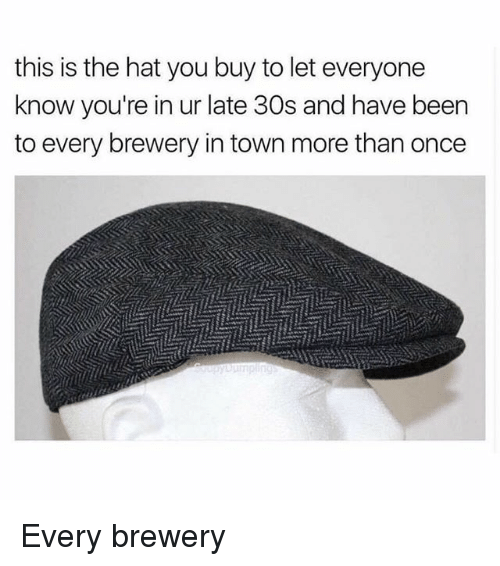 Memes, Been, and 🤖: this is the hat you buy to let everyone  know you're in ur late 30s and have been  to every brewery in town more than once Every brewery
