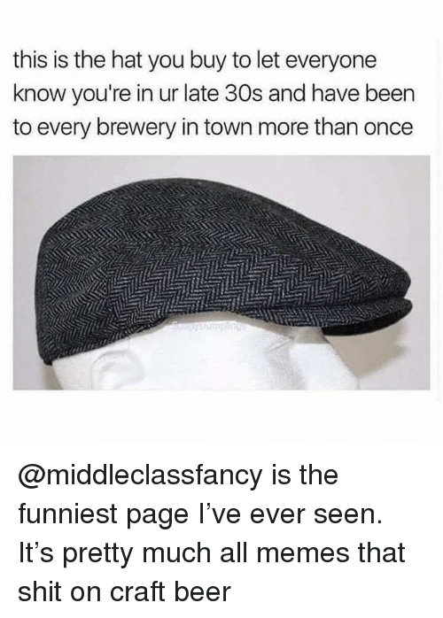 Beer, Memes, and Shit: this is the hat you buy to let everyone  know you're in ur late 30s and have been  to every brewery in town more than once @middleclassfancy is the funniest page I've ever seen. It's pretty much all memes that shit on craft beer