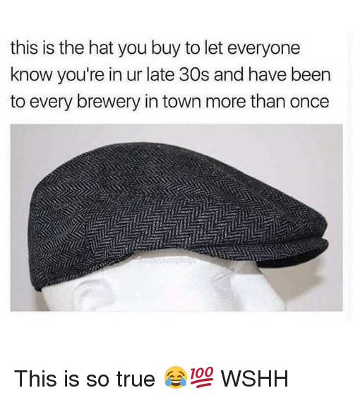 Memes, True, and Wshh: this is the hat you buy to let everyone  know you're in ur late 30s and have been  to every brewery in town more than once This is so true 😂💯 WSHH