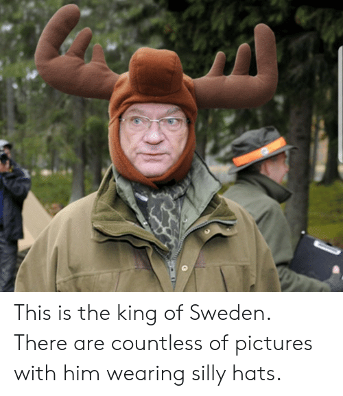 King Of: This is the king of Sweden. There are countless of pictures with him wearing silly hats.