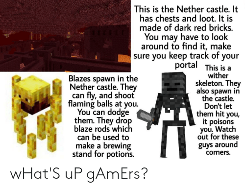 Watch Out, Blaze, and Dodge: This is the Nether castle. It  has chests and loot. It is  made of dark red bricks.  You may have to look  around to find it, make  sure you keep track of your  portal This is a  wither  skeleton. They  also spawn in  the castle.  Don't let  them hit you,  it poisons  you. Watch  out for these  guys around  Blazes spawn in the  Nether castle. They  can fly, and shoot  flaming balls at you.  You can dodge  them. They drop  blaze rods which  can be used to  make a brewing  stand for potions.  corners. wHat'S uP gAmErs?