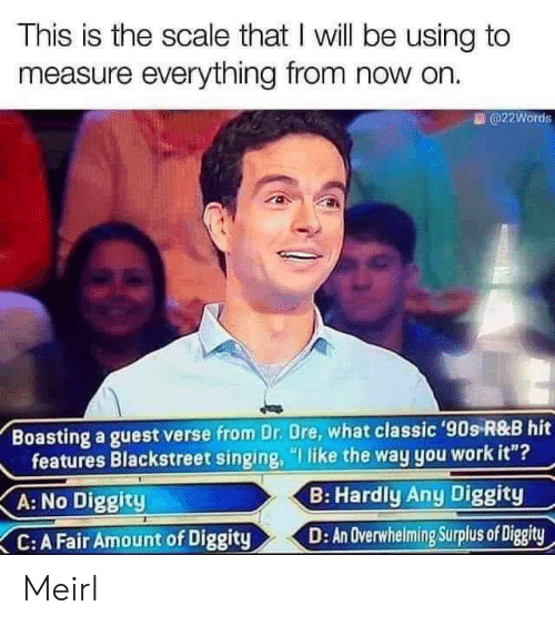 "Singing: This is the scale that I will be using to  measure everything from now on.  @22Words  Boasting a guest verse from Dr. Dre, what classic '90s R&B hit  features Blackstreet singing, ""I like the way you work it""?  B: Hardly Any Diggity  A: No Diggity  D: An Overwhelming Surplus of Diggity  C: A Fair Amount of Diggity Meirl"