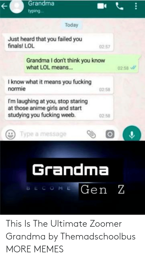 Grandma: This Is The Ultimate Zoomer Grandma by Themadschoolbus MORE MEMES