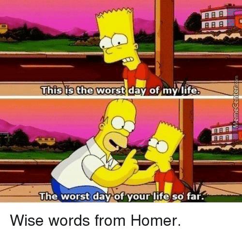 the worst day of my life: This is the  worst day of my life.  The worst day of your life so far. Wise words from Homer.