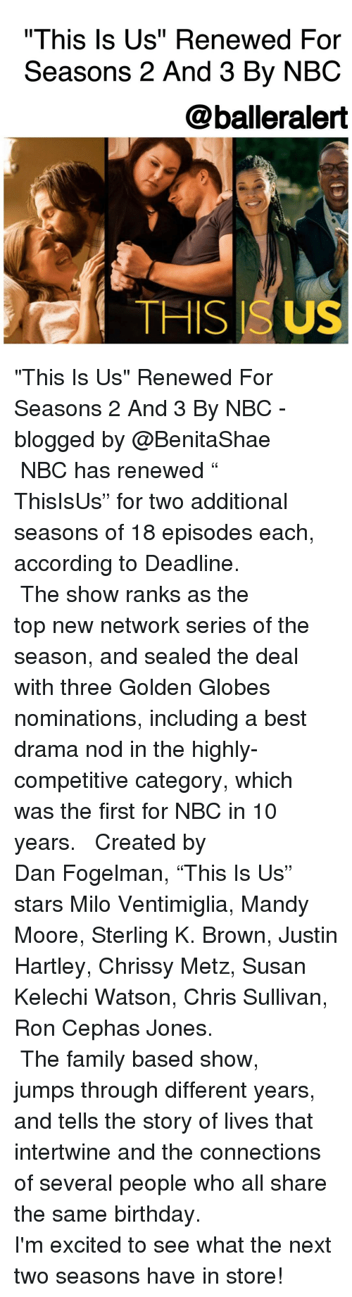 """Golden Globes: """"This Is Us"""" Renewed For  Seasons 2 And 3 By NBC  @balleralert  THIS ISUS """"This Is Us"""" Renewed For Seasons 2 And 3 By NBC -blogged by @BenitaShae ⠀⠀⠀⠀⠀⠀⠀⠀⠀ ⠀⠀⠀⠀⠀⠀⠀⠀⠀ NBC has renewed """" ThisIsUs"""" for two additional seasons of 18 episodes each, according to Deadline. ⠀⠀⠀⠀⠀⠀⠀⠀⠀ ⠀⠀⠀⠀⠀⠀⠀⠀⠀ The show ranks as the top new network series of the season, and sealed the deal with three Golden Globes nominations, including a best drama nod in the highly-competitive category, which was the first for NBC in 10 years. ⠀⠀⠀⠀⠀⠀⠀⠀⠀ ⠀⠀⠀⠀⠀⠀⠀⠀⠀ Created by Dan Fogelman, """"This Is Us"""" stars Milo Ventimiglia, Mandy Moore, Sterling K. Brown, Justin Hartley, Chrissy Metz, Susan Kelechi Watson, Chris Sullivan, Ron Cephas Jones. ⠀⠀⠀⠀⠀⠀⠀⠀⠀ ⠀⠀⠀⠀⠀⠀⠀⠀⠀ The family based show, jumps through different years, and tells the story of lives that intertwine and the connections of several people who all share the same birthday. ⠀⠀⠀⠀⠀⠀⠀⠀⠀ ⠀⠀⠀⠀⠀⠀⠀⠀⠀ I'm excited to see what the next two seasons have in store!"""