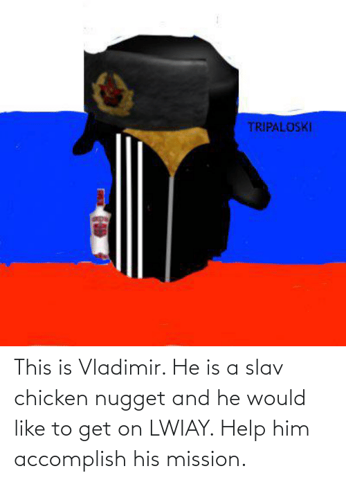 chicken nugget: This is Vladimir. He is a slav chicken nugget and he would like to get on LWIAY. Help him accomplish his mission.