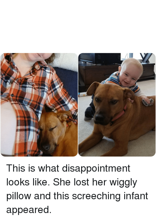 Lost, Her, and She: This is what disappointment looks like. She lost her wiggly pillow and this screeching infant appeared.
