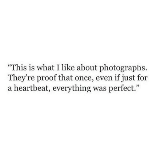 Proof, Once, and What: This is what I like about photographs.  They're proof that once, even if just for  a heartbeat, everything was perfect.""