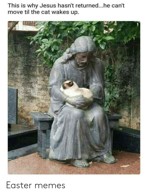 Easter, Jesus, and Memes: This is why Jesus hasn't returned...he can't  move til the cat wakes up. Easter memes
