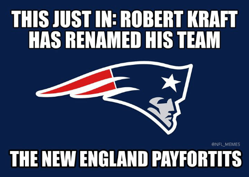 England, Memes, and Nfl: THIS JUST IN: ROBERT KRAFT  HAS RENAMED HIS TEAM  @NFL MEMES  THE NEW ENGLAND PAYFORTITS