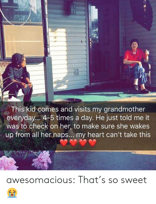 Naps: This kid comes and visits my grandmother  everyday... 4-5 times a day. He just told me it  was to check on her, to make sure she wakes  up from all her naps... my heart can't take this awesomacious:  That's so sweet 😭