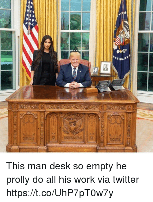 Memes, Twitter, and Work: This man desk so empty he prolly do all his work via twitter https://t.co/UhP7pT0w7y