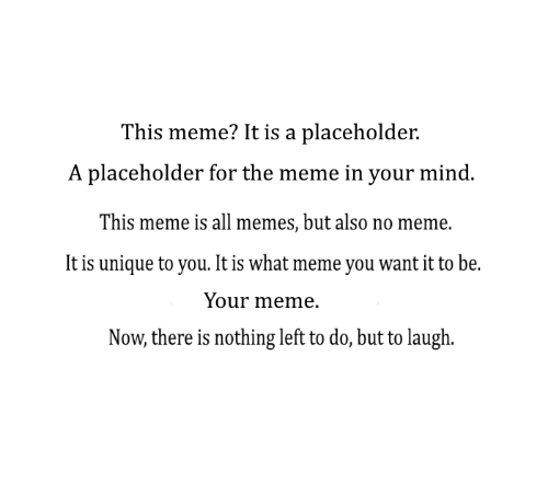 What Meme: This meme? It is a placeholder.  A placeholder for the meme in your mind  This meme is all memes, but also no meme.  It is unique to you. It is what meme you want it to be.  Your meme.  Now, there is nothing left to do, but to laugh.