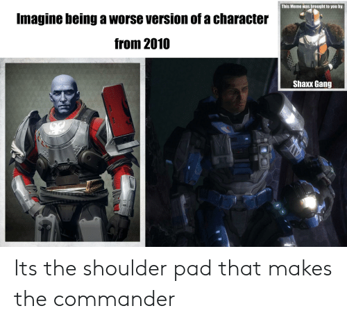 the commander: This Meme was brought to you by:  Imagine being a worse version of a character  from 2010  Shaxx Gang  HAM Its the shoulder pad that makes the commander