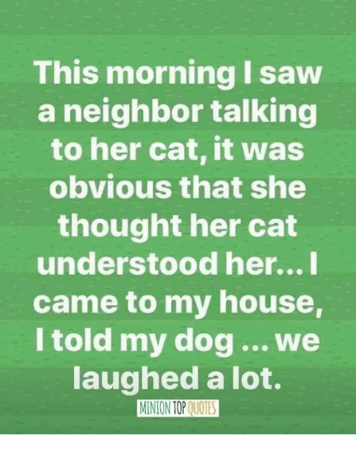 Memes, My House, and Saw: This morning I saw  a neighbor talking  to her cat, it was  obvious that she  thought her cat  understood her...l  came to my house,  I told my dog.. we  aughed a lot.  MINION TOP QUOTES