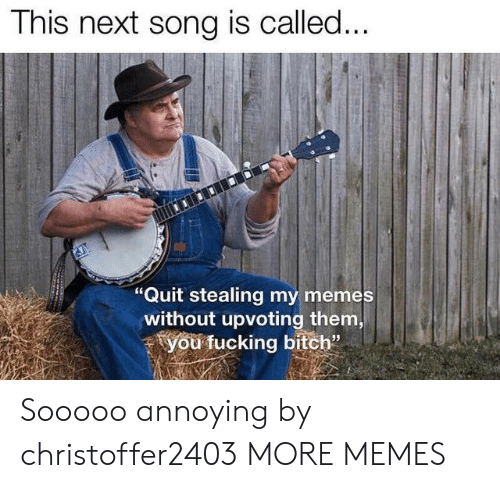 "My Memes: This next song is called...  ""Quit stealing my memes  without upvoting them,  you fucking bitch"" Sooooo annoying by christoffer2403 MORE MEMES"