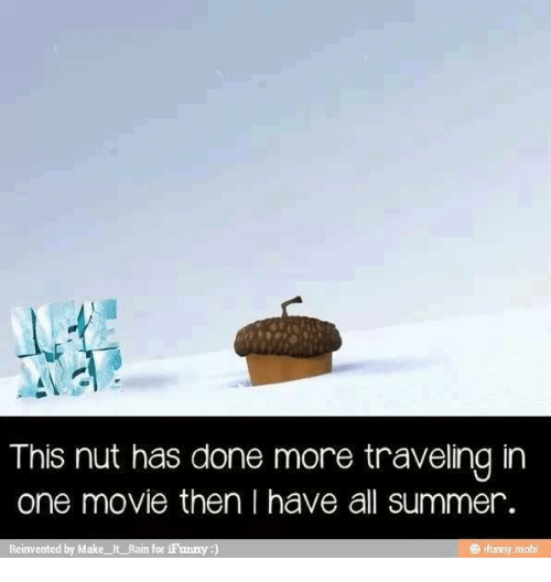 make it rain: This nut has done more traveling in  one movie then I have all summer.  Reinvented by Make It Rain for iFunny