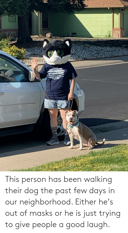 Good: This person has been walking their dog the past few days in our neighborhood. Either he's out of masks or he is just trying to give people a good laugh.