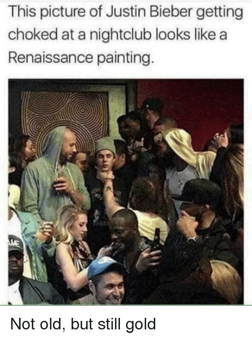 Nightclub: This picture of Justin Bieber getting  choked at a nightclub looks like a  Renaissance painting Not old, but still gold