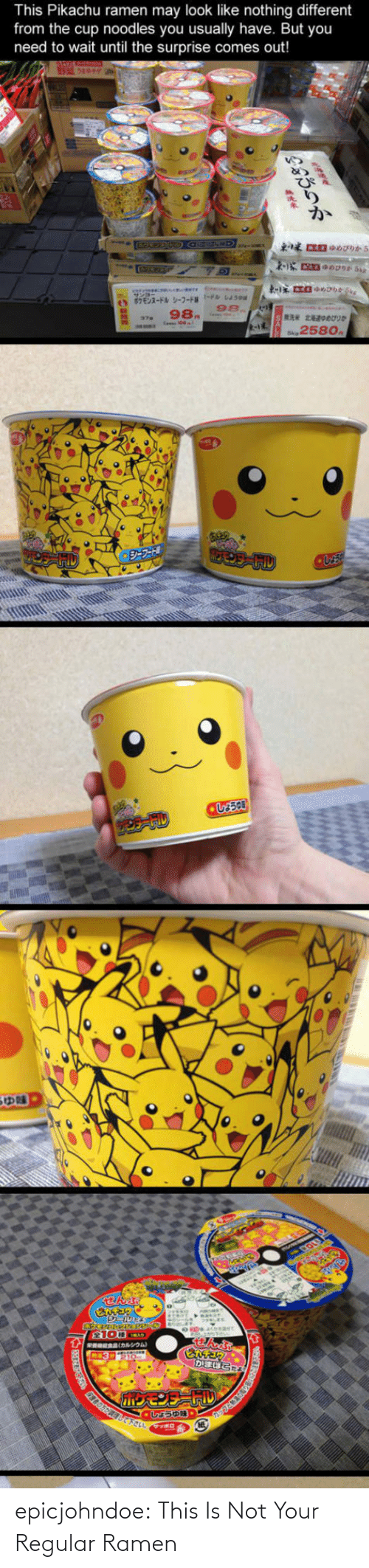 Pikachu: This Pikachu ramen may look like nothing different  from the cup noodles you usually have. But you  need to wait until the surprise comes out!  98.  258o epicjohndoe:  This Is Not Your Regular Ramen