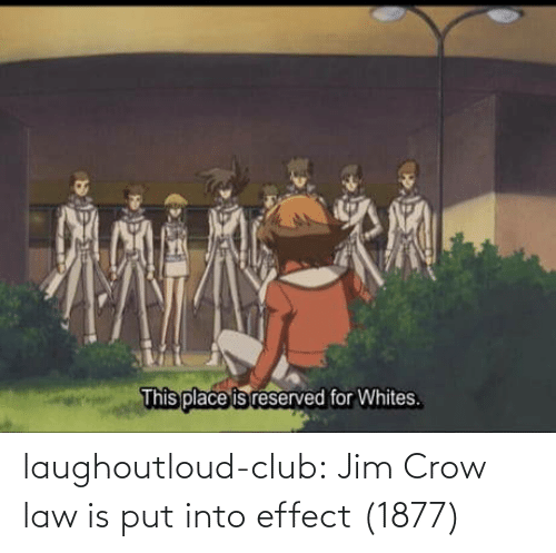 Reserved: This place is reserved for Whites. laughoutloud-club:  Jim Crow law is put into effect (1877)