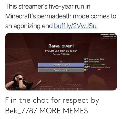 minecrafts: This streamer's five-year run in  Minecraft's permadeath mode comes to  an agonizing end buff.ly/2VwJSul  Gane over!  PhiLzn was slain by Spider  Score: 761246  OMG  Oh no.  OMG  Delete uorld  93 F in the chat for respect by Bek_7787 MORE MEMES