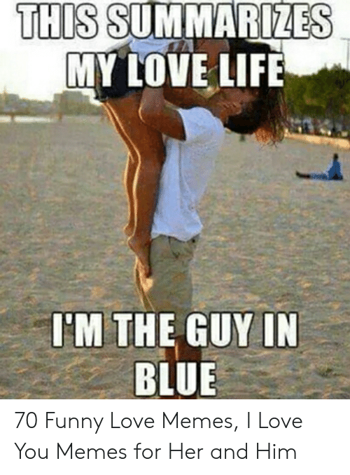 Love Wife Meme: THIS SUMMARIZES  MY LOVE LIFE  'M THE GUY IN  BLUE 70 Funny Love Memes, I Love You Memes for Her and Him