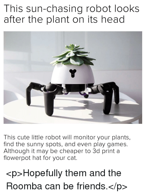 Cute, Friends, and Head: This sun-chasing robot looks  after the plant on its head  This cute little robot will monitor your plants,  find the sunny spots, and even play games.  Although it may be cheaper to 3d print a  flowerpot hat for your cat. <p>Hopefully them and the Roomba can be friends.</p>