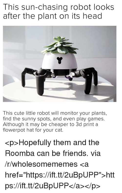 "Cute, Friends, and Head: This sun-chasing robot looks  after the plant on its head  This cute little robot will monitor your plants,  find the sunny spots, and even play games.  Although it may be cheaper to 3d print a  flowerpot hat for your cat. <p>Hopefully them and the Roomba can be friends. via /r/wholesomememes <a href=""https://ift.tt/2uBpUPP"">https://ift.tt/2uBpUPP</a></p>"