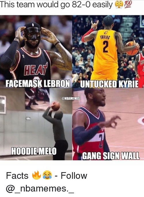 walle: This team would go 82-0 easily  RVING  HEAT  FACEMASK LEBRON UNTUCKED KYRIE  @NBAMEMES  HOODIEMELO  GANG SIGN 〉  WALL Facts 🔥😂 - Follow @_nbamemes._