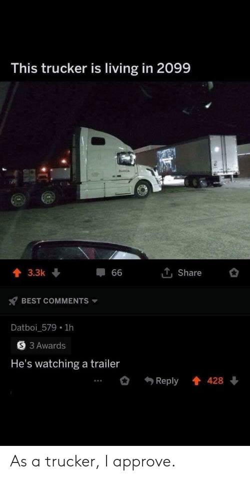 approve: This trucker is living in 2099  1Share  3.3k  66  BEST COMMENTS  Datboi_579 1h  3 Awards  He's watching a trailer  Reply 428 As a trucker, I approve.