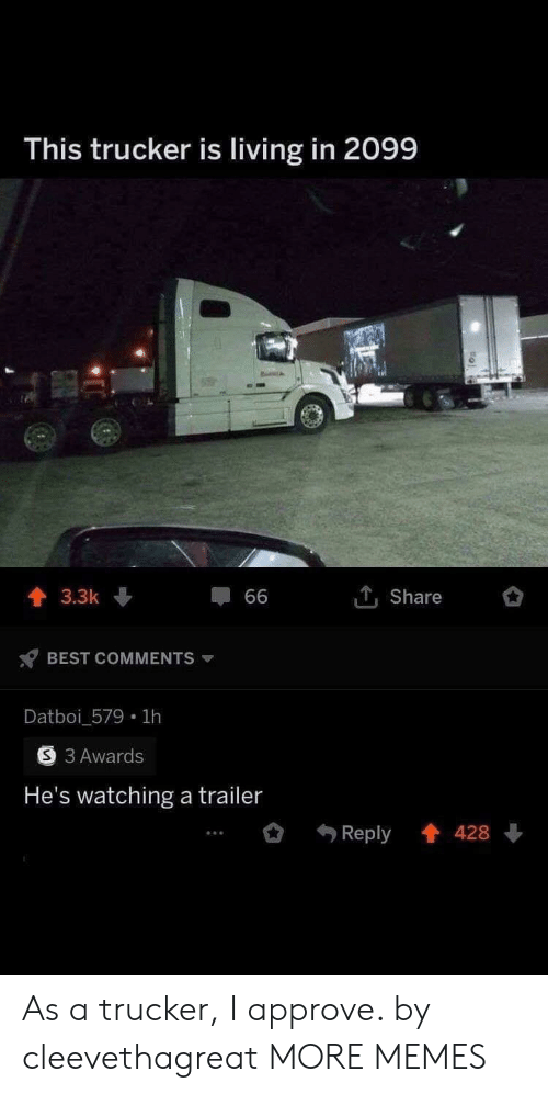approve: This trucker is living in 2099  1Share  3.3k  66  BEST COMMENTS  Datboi_579 1h  3 Awards  He's watching a trailer  Reply 428 As a trucker, I approve. by cleevethagreat MORE MEMES