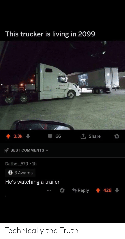 Best, Living, and Truth: This trucker is living in 2099  T, Share  3.3k  66  BEST COMMENTS  Datboi_579 1h  S 3 Awards  He's watching a trailer  Reply  428 Technically the Truth