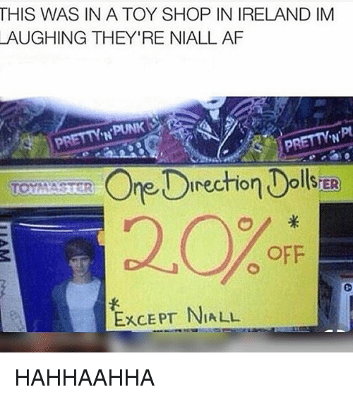 Af, Memes, and Ireland: THIS WAS IN A TOY SHOP IN IRELAND IM  AUGHING THEY'RE NIALL AF  'N  recrio  2.0%  OFF  EXCEPT NIA LL HAHHAAHHA