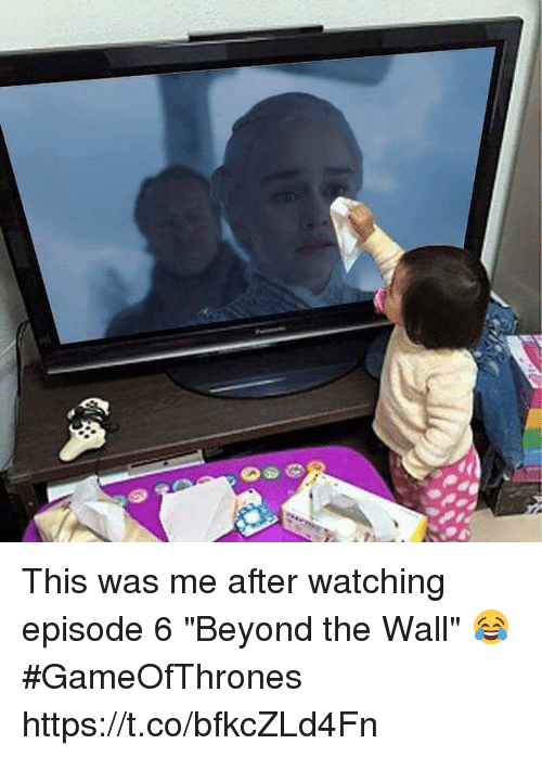 """walle: This was me after watching episode 6 """"Beyond the Wall"""" 😂 #GameOfThrones https://t.co/bfkcZLd4Fn"""