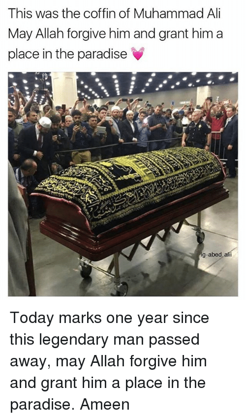 Ali, Memes, and Muhammad Ali: This was the coffin of Muhammad Ali  May Allah forgive him and grant him a  place in the paradise  ig-abed, alii Today marks one year since this legendary man passed away, may Allah forgive him and grant him a place in the paradise. Ameen