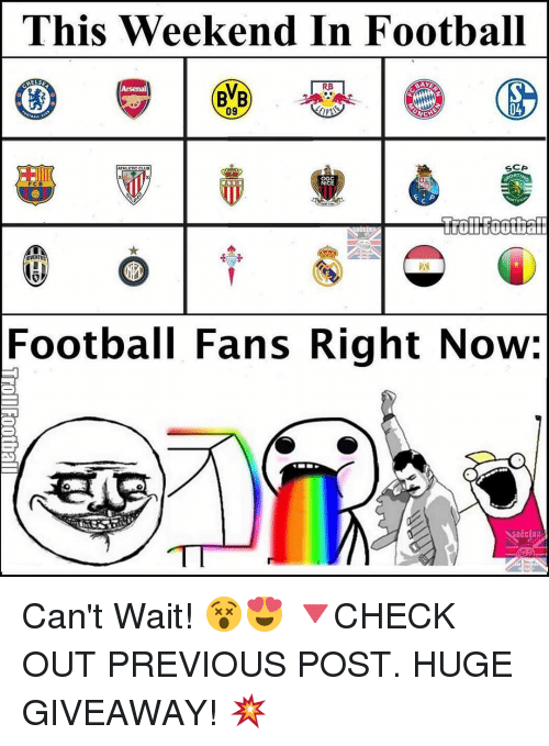 scp: This Weekend In Football  RB  SCP  Football Fans Right Now: Can't Wait! 😵😍 🔻CHECK OUT PREVIOUS POST. HUGE GIVEAWAY! 💥
