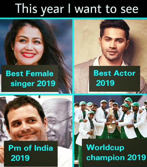 Best Actor: This year I want to see  Best Actor  2019  Best Female  singer 2019  Pm of India  2019  Worldcup  champion 2019