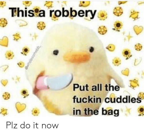 robbery: Thista robbery  Put all the  fuckin cuddles  in the bag Plz do it now