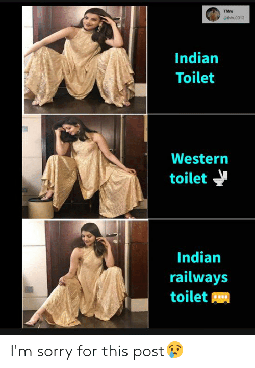 Memes, Sorry, and Indian: Thlru  @thiru0013  Indian  Toilet  Western  toilet  Indian  railways  toilet I'm sorry for this post😢