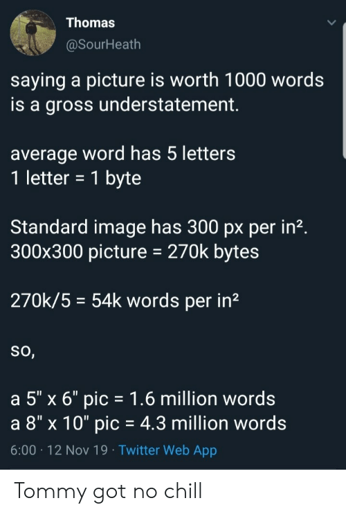 "Chill, No Chill, and Twitter: Thomas  @SourHeath  saying a picture is worth 1000 words  is a gross understatement  average word has 5 letters  1 letter = 1 byte  Standard image has 300 px per in2.  300x300 picture  270k bytes  270k/5 54k words per in2  So,  a 5"" x 6"" pic 1.6 million words  a 8"" x 10"" pic = 4.3 million words  6:00 12 Nov 19 Twitter Web App Tommy got no chill"