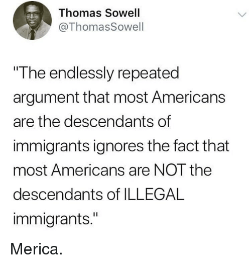 """Memes, Thomas Sowell, and 🤖: Thomas Sowell  @ThomasSowell  The endlessly repeated  argument that most Americans  are the descendants of  immigrants ignores the fact that  most Americans are NOT the  descendants of ILLEGAL  immigrants."""" Merica."""