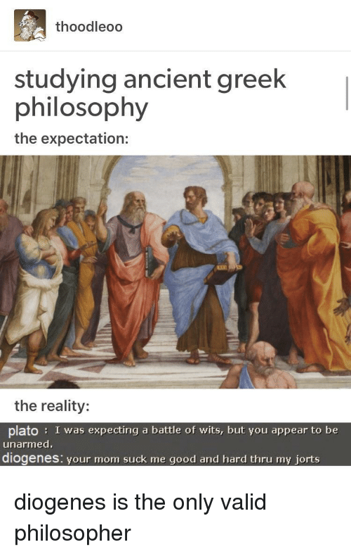 Plato: thoodleoo  studying ancient greek  philosophy  the expectation:  the reality:  plato: I was expecting a battle of wits, but you appear to be  unarmed  diogenes: vour mom suck me good and hard thru my iorts diogenes is the only valid philosopher